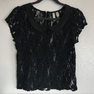 Tops - Sheer Lace Black Top